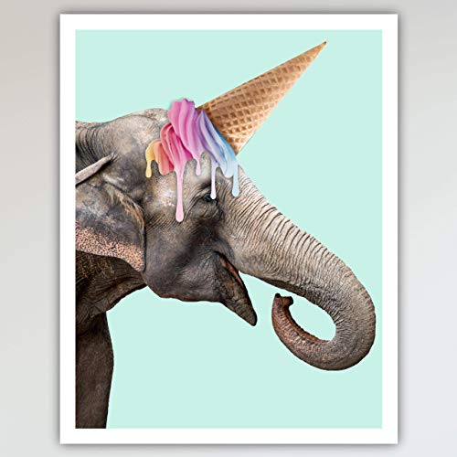 Elephant Unicorn Art Print Poster - Fun and Cute, Elephant Zoo Animal & Ice Cream Unicorn Kid's Bedroom & Nursery Wall Decor - This Loveable Art Print Poster Measures 11x14 inches, Unframed ()