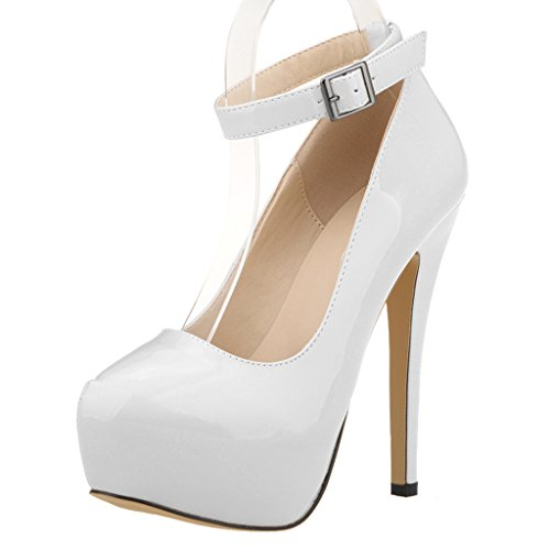 Ankle Strap Platform Pump Shoes - 6