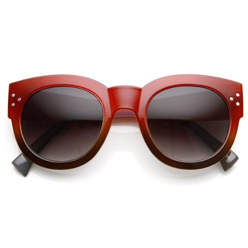 zeroUV - Colorful Two-Tone Bold Rim Round Oversized Horn Rimmed Sunglasses - Sunglasses Frame Two Tone