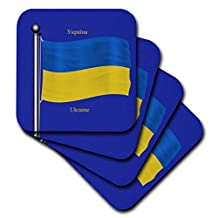 3dRose cst_63215_1 The Flag of The Ukraine on a Blue Background with Ukraine in English and Ukrainian-Soft Coasters, Set of 4