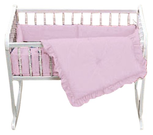 Baby Doll Bedding Solid Cradle Set, Pink
