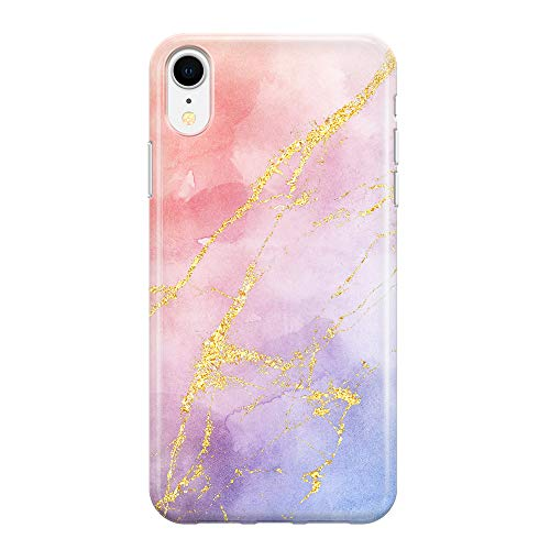 Color Watercolor Gradient Gold Veins Case Compatible with iPhone XR 6.1