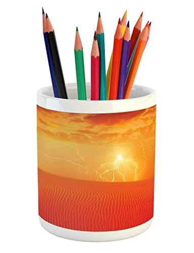 Lunarable Nature Pencil Pen Holder, Hot Arabian Desert Landscape Dramatic Sunset in Sand Dune Wilderness Nature Theme, Printed Ceramic Pencil Pen Holder for Desk Office Accessory, Red Orange by Lunarable