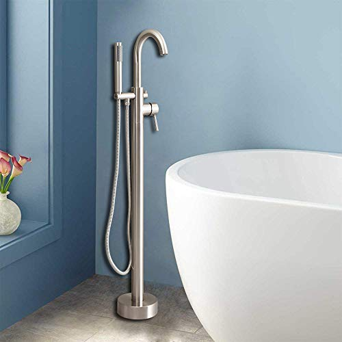 Floor Faucet Package - WOODBRIDGE Freestanding Tub Filler Bathtub Floor Mount Brass Bathroom Faucets with Hand Shower, F-0002 Chrome