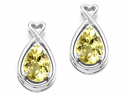 Tommaso Design Pear Shape 9x7mm Genuine Lemon Quartz Earrings 14 kt White Gold