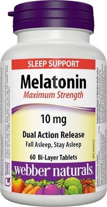 Dual Release - Webber Naturals Melatonin Maximum Strength 10 mg · Dual Action Release, 60 Bi-Layer Tablets