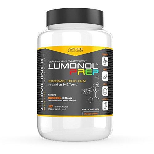 Lumonol Prep (30ct): Focus Factor Supplements for Children, Multivitamin & Neuro Nutrients (Brain Power & Function). Contains Vitamin B6 & No Caffeine. Tasty chewables