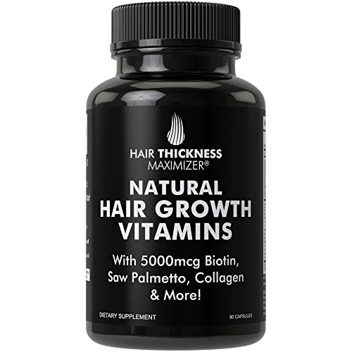 Natural Hair Growth Vitamins by Hair Thickness Maximizer - Hair Regrowth Vitamin Supplement with Biotin 5000 mcg, Collagen, Saw Palmetto. Stop Hair Loss, Get Thicker Hair for Men + Women. Made in USA