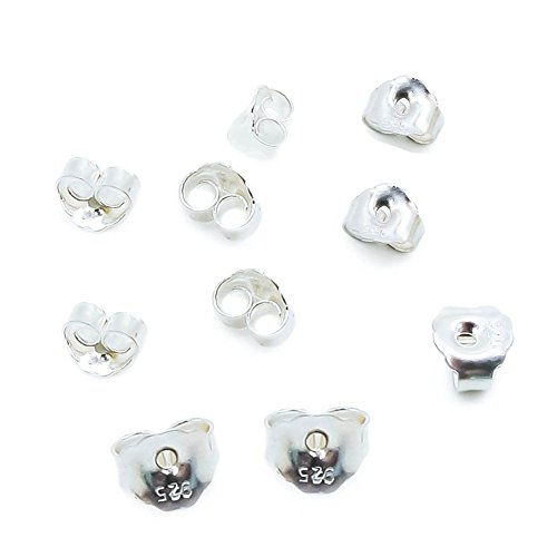 (TOAOB 10pcs 925silver Hypoallergenic Butterfly Safety Earring Backs 3.78x4.85mm)