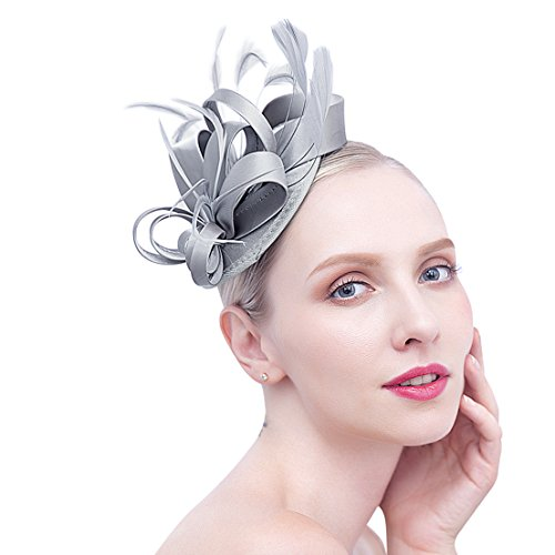 0cf2a6dca68 Felizhouse Fascinator Hats for Women Feather Cocktail Party Hats Bridal  Kentucky Derby Headband (Grey)