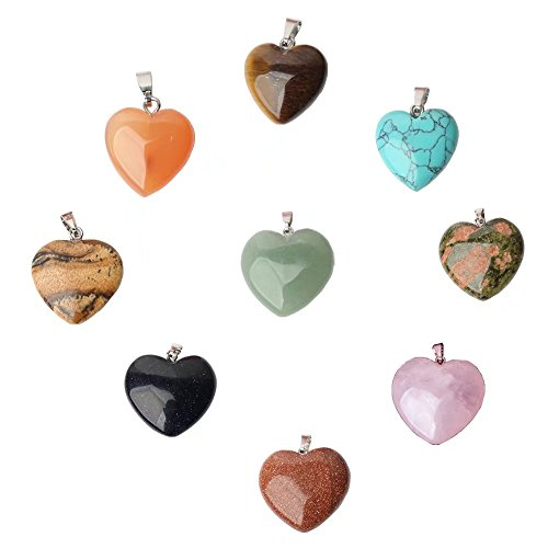 9 Pcs Natural Gemstone and Crystal 16mm Heart Charm Mixed Color Pendant Beads Lots Wholesale Supplies for DIY Fashion Necklace Jewelry Making (Random - Gemstone Heart Beads