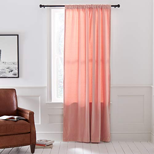 Stone & Beam Modern Velvet Blackout Curtain Panel with Rod Pocket - 52 x 84, Blush Pink