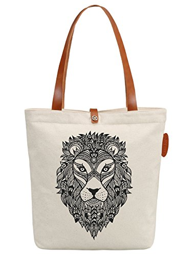 IN.RHAN Women's Lion Head Portrait Canvas Handbag Tote Bag Shoulder Bag