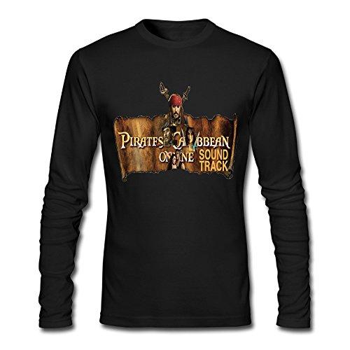 Men's Pirates Of The Caribbean Captain Jack Sparrow Long Sleeve T Shirt-Black