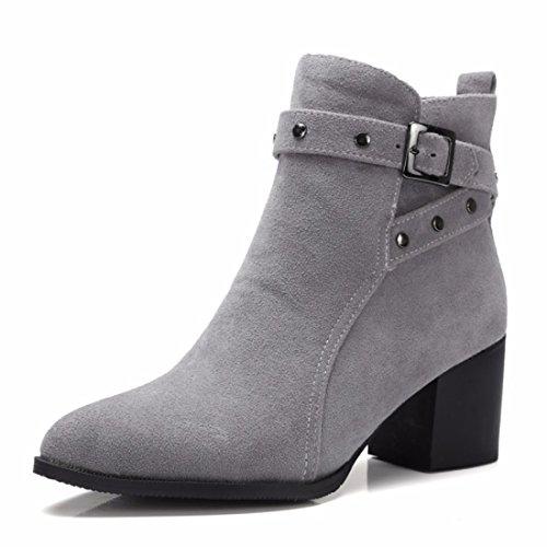 RFF-Women's Shoes Herbst und Winter High Heels Stiefel Mode Stiefel Größe Gray