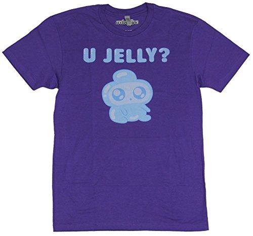 Bravest Warriors Mens T-Shirt - U Jelly? Seated Jelly Kid Image (Large) Purple ()