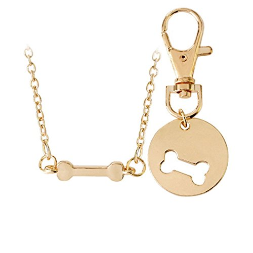 Loweryeah Jewelry Pet Dog Bone Necklace Bone Key Clasp Pendant