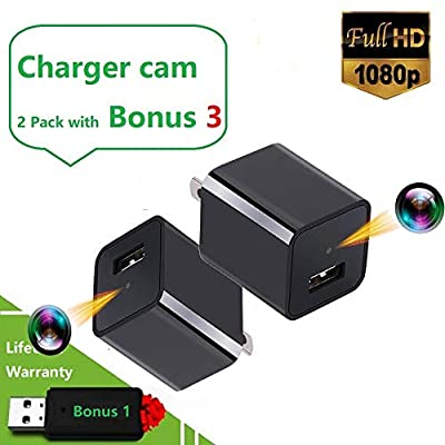 Spy Charger Hidden Camera - 2 Pack - No WiFi - Motion Detection - Auto Overwriting - 7/24 Hours Surveillance