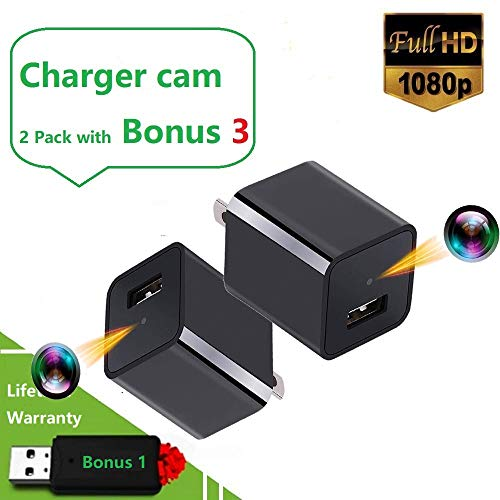 Spy Charger Camera Bundle No WIFI - Motion Activated 7/24 H House Surveillance