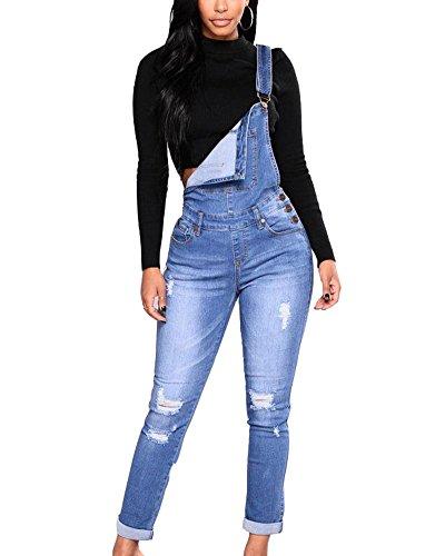 Mujer Peto Vaquero con Bolsillo Mono Jeans Casual Slim Fit Pantalones Ocio Denim Dungarees Azul Claro