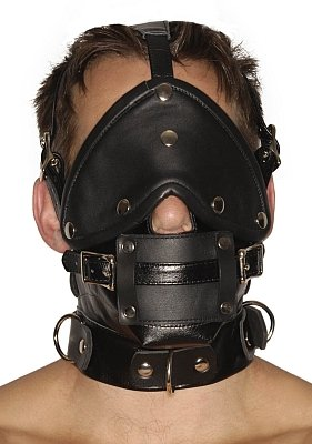 Strict Leather Premium Muzzle with Blindfold and Gags by Strict Leather