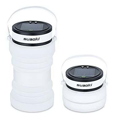 Suaoki Led Camping Lantern Flashlight Lights Built-in Rechargeable Battery Powered by Solar or USB Charger(Waterproof,Collapsible,3 Brightness Modes,Silicone Container,White)