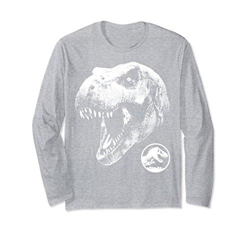 Unisex Jurassic World Dinosaur Skull Long Sleeved T-Shirt Large Heather Grey (Long Sleeved Skull)