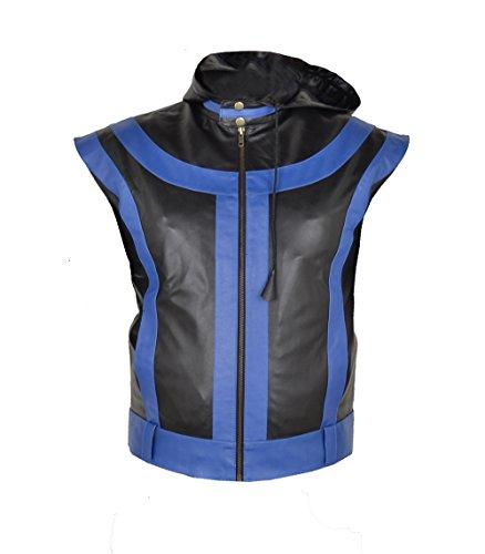 Mens Star Leather Vest (MSHC Men's 5 Star Faux Leather Hoodie Vest 5XL Black & Blue)