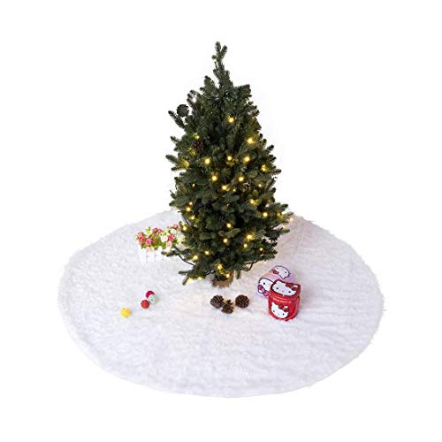 Sexy_Forever Premium Faux Sheepskin Christmas Tree Skirt Rugs for Christmas Decorations Super Fluffy Thick Fur Rugs (Skirt Tree Sheepskin)