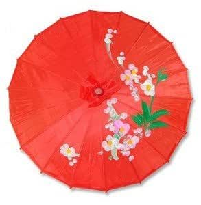 Japanese Chinese Asian Umbrella Parasol 22in Red 157-4