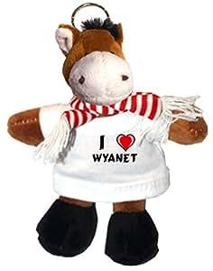 Caballo de peluche (llavero) con Amo Wyanet en la camiseta (nombre de pila/apellido/apodo)
