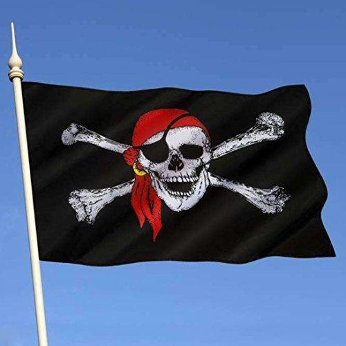 Inverlee 3x5 ft Pirate Flag Calico Flag Balloween Jolly Roger Skull Flag Polyester Banner (Black) ()