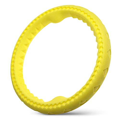 Fluffy Paws Dog Chewing Ring, 10 Soft Rubber Ring Dental Chewing Teething Biting Chasing Training Toy for Small and Medium DogPuppy, Yellow