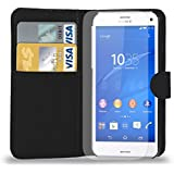 Sony Xperia Z3 Compact Leather Wallet Flip Case Cover Pouch + Screen Guard & Cleaning Cloth - BLACK