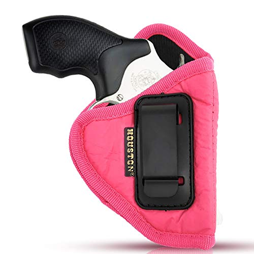 IWB Woman Pink Revolver Holster - Houston - ECO Leather Concealed Carry Soft | Suede Interior for Maximum Protection Fits: Any 38 J Frames, S&W, Charter Arms, Rossi 38, Taurus,BG (Right) (CHPK-60-RH)]()