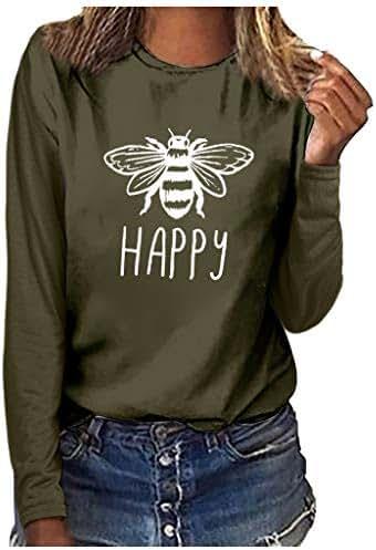 Shirts for Women Plus Size Fashion Casual Loose Print Round Neck Long Sleeve T-Shirt Blouse Tops Sweatshirt