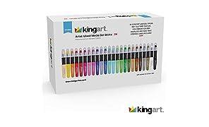 KINGART Artist Mixed Media Gel Sticks - Set of 24, Vivid Colors