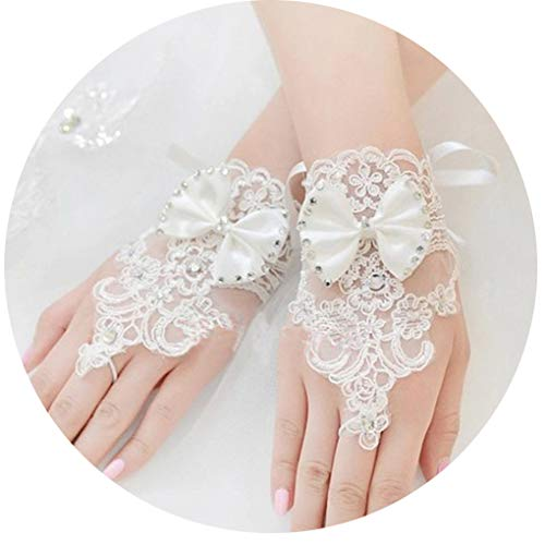 CanB Women's Wedding Bridal White Lace Gloves Fingerless Gloves Crystals Gloves for Wedding Party Prom Brides Accessory ()