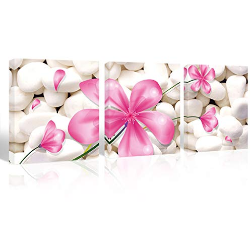 Pink flower pictures canvas wall art soft red tulips pictures for girls room decor red roses paintings for kids room lilies picture wall poster wall decoration flower wall art for ()
