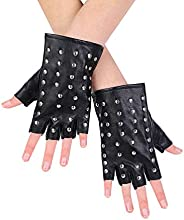 JISEN Women Punk rivets Belt Up Half Finger PU Leather Performance Gloves
