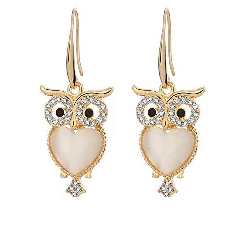Cute Night Owl Opal Dangle Earrings For Women Girls Golden Plated