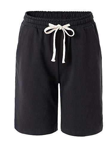Gooket Women's Elastic Waist Soft Jersey Knit Bermuda Shorts Activewear Yoga Lounge Short with Drawstring Black Tag XL-US 4-6