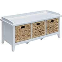 ACME Flavius White Bench with Storage