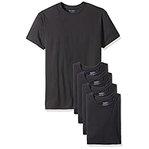 Gildan Platinum Men's 5-Pack Crew Neck T-Shirt, Black, L