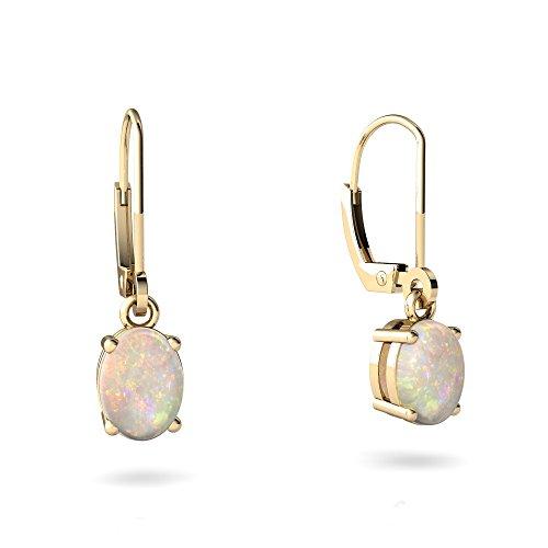 14kt Yellow Gold Opal 8x6mm Oval Lever Back Earrings