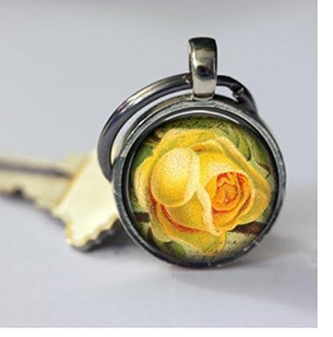 Amazon.com: Llavero clásico Flor Amarilla Llavero, diseño ...