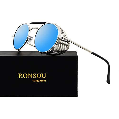Ronsou Steampunk Style Round Vintage Sunglasses Retro Eyewear UV400 Protection Matel Frame silver&blue from RONSOU