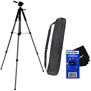 "75"" Pro Elite Series Photo/video Tripod & Deluxe Soft Carrying Case for Sony Alpha NEX-3N, NEX-5T, & NEX-5R, & NEX-F3 Interchangeable Lens Digital Cameras w/ Herofiber® Ultra Gentle Cleaning Cloth"