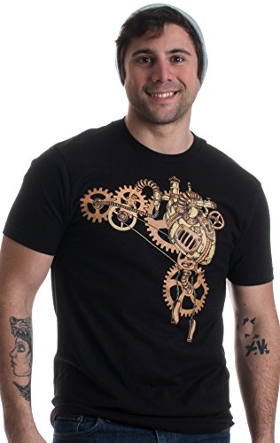 Steampunk Heart | Cosplay Sci Fi Fantasy Mechanical Gears Anatomy Unisex T-shirt-(Adult,L) (Steampunk Clothing Men)