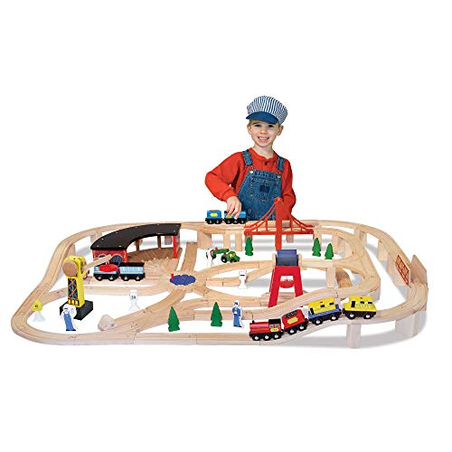 Melissa & Doug Deluxe Wooden Railway Train Set (130+ pcs)
